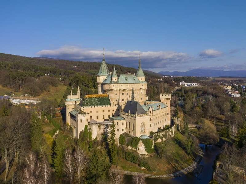 Aerial view of romantic medieval European castle in Bojnice, Slovakia